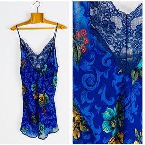 ☕️Vintage Blue Printed Camisole Slip Dress Nightie